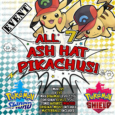 Pokemon Sword and Shield ⚔️ 'ALL 7' ASH HAT PIKACHU EVENT BUNDLE! - 6IV! 🛡️