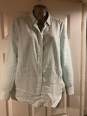 Joules Baby Blue & White Checked Shirt Gingham Size 10 Summer Work
