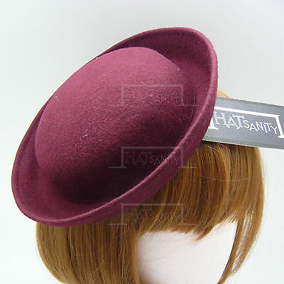 FASHION Wool Felt Women Mini Bowler Hat Ladies Fascinators Party DIY | Burgundy