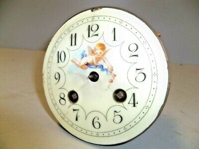 Antique French Clock Movt W Cupid On Porc Dial