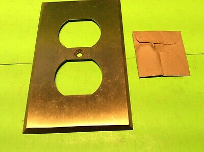 Antique NOS Harvey Hubbell Inc. Solid Brass Double Electrical Outlet Cover Plate