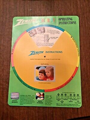 Vintage 1960's Zenith Color TV Operating Instructions Spin Wheel Excellent