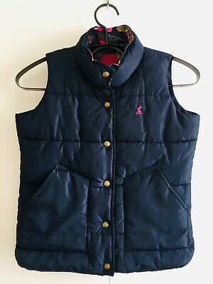 Joules Girls Floral Navy Gilet Vest Body Warmer. Pockets, Zip, Buttons. Age 8