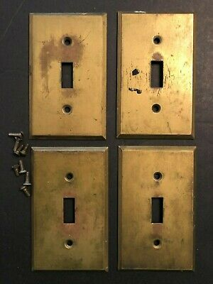 4 Vintage Antique heavy Gauge Solid Brass Single Switch Toggle Plate Covers