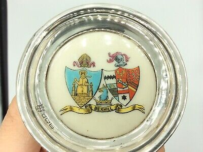 Fantastic Antique Solid Silver & Carlton China Bexhill Stoke On Trent Pin Dish