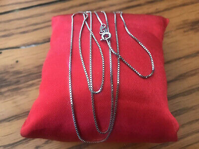 """14K Italy Solid White Gold .8mm Box Chain Necklace 24 1/2"""" ~ Not Scrap 2.8 Grams"""