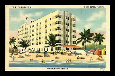 Us Linen Postcard The Patrician With Tourists By Ocean Miami Beach Florida