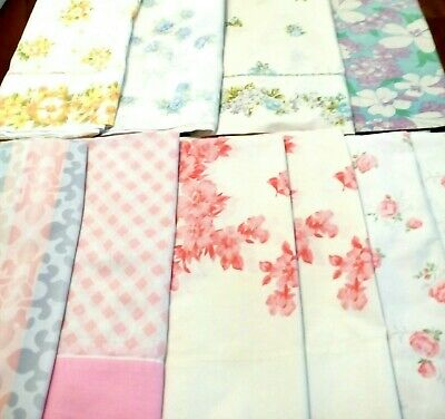 10 Vintage PILLOWCASES Lot FLORALS & Prints 2 PINK PAIRS Muslin COTTON Fabric