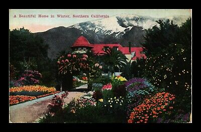 Us Postcard Beautiful Home & Colorful Flower Garden Winter Southern California