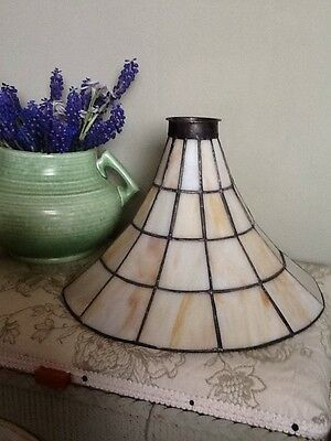Beautiful Antique Arts & Crafts Slag Glass Leaded Light Shade-2 Available#1405