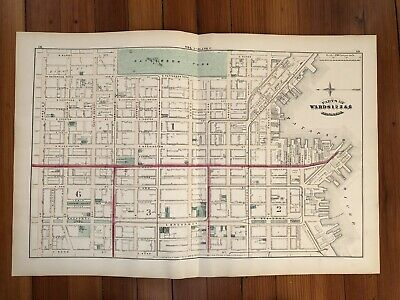 1876 Street MAP of CANTON  BALTIMORE Maryland PATTERSON PARK Building Footprints