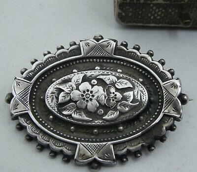 "An Antique Mid C19th Century Victorian Era Silver ""Forget-Me-Not"" Brooch."