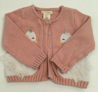 """Cynthia Rowley Toddler Girl Cardigan Pink """"Swans"""" Size 18 Months"""
