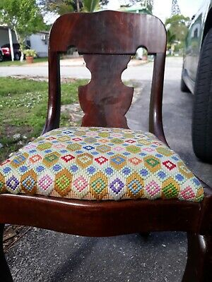 """Antique Child American Victorian Empire Chair Upholstered & Wood Walnut 22"""" tall"""