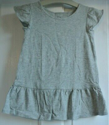 New Gap girls 100% cotton frill sleeve Top Grey  3 years