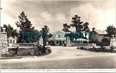 RPPC - Silver Springs, FL - Court Hotel & Cottages - 1950s era