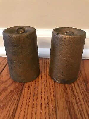 Pair of Original Antique American-Cast Iron Clock Weights  3.10 3.12 Pounds Each