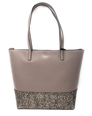 Authentic Kate Spade New York Greta Court Penny Glitter Tote Cityscape Grey NWT