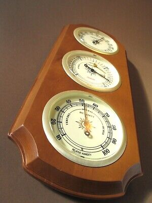 Vintage Sunbeam Barometer Weather Station Temp Humidity Maple Finish USA