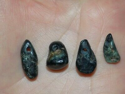 Pre-Columbian Blue Jade Nugget Beads, Set of 4, Authentic, Costa Rica Blue Jade