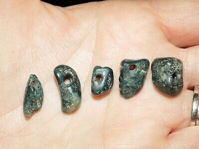 Pre-Columbian Blue Jade Nugget Beads, Face Bead, Set of 5, Authentic, Costa Rica