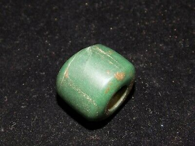 Pre-Columbian Chunky Blue Green Jade Bead, Authentic, Central American Jade