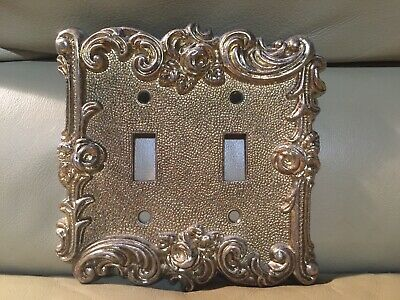 VIntage 1987American Tack & Hardware Double Switch Plate Cover Shabby Rose Bras