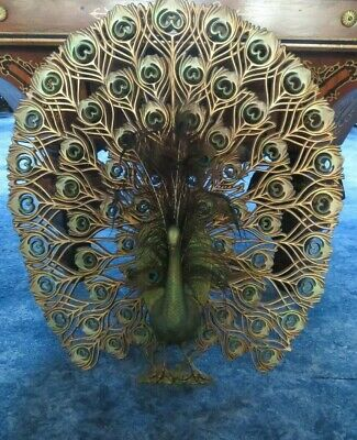 Vtg BURWOOD Hollywood Regency Gold PEACOCK bird w/Feathers Wall Hanging Art