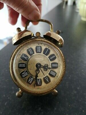 VINTAGE Little Estyma Brass Alarm Clock West Germany in working order