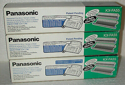 NIB Lot of 3 - Genuine Panasonic KX-FA55 Replacement Film 2 ROLL VALUE PACK OEM