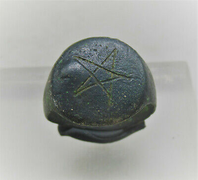 Ancient Byzantine Bronze Crusaders Seal Ring With Star Motif Rare