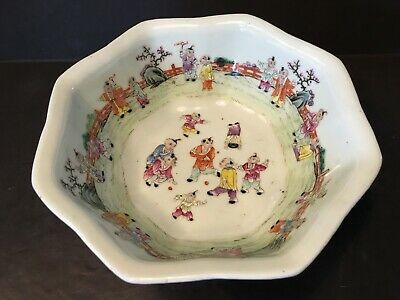 Antique Large Chinese Famille Rose Bowl with Children, late Qing, 19th Century