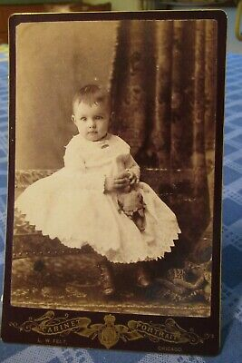 Victorian Cabinet Card Photo Baby Toddler With Doll Felt Chicago Gilt