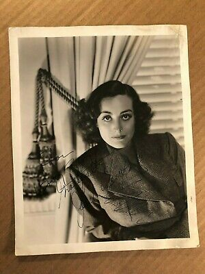 Joan Crawford Rare Early Original Autographed 8/10 Photo 1940s Hurrell Stamp