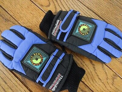 Boy's Bugle Boy Thinsulate Gloves - Black and Blue     Size Large