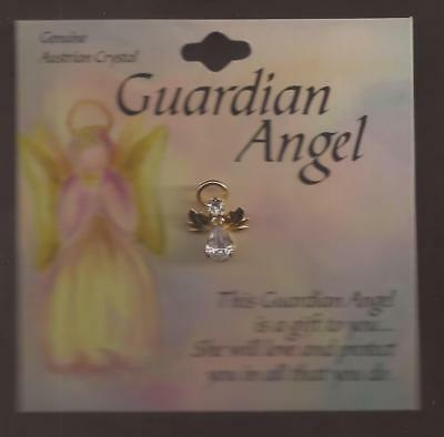Guardian Angel Genuine Austrian Crystal Wishes Pin, NEW [1116/13] Spoontiques