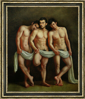 """Hand-painted Original Oil painting Portrait art male nude on Canvas 30""""X40"""""""