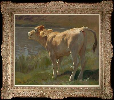 "Hand painted Original art Oil painting Animal Portrait cow on Canva 20""X24"""