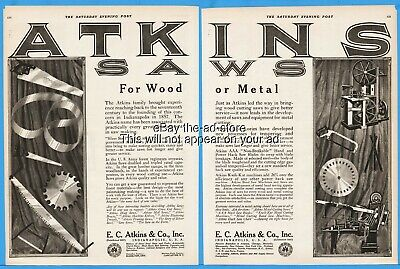 1920 E C Atkins & Co Indianapolis Indiana Hand Bow Two Man Crosscut Saw Print Ad