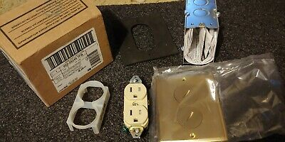 Leviton 5249-TFB 15A 125V Brass Floor Box Assembly Single Outlet