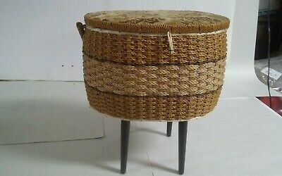 VTG Singer Sewing Basket With Handle & Feet Japan Made Cute Woven Fabric Top