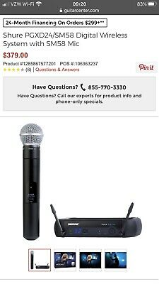Shure PGXD24/SM58 Wireless Handheld Vocal Wireless Dynamic Cardioid Mic System