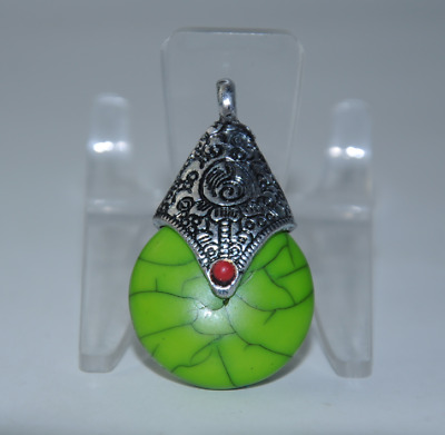 China old Handwork Miao silver inlay natural Turquoise pendant gift /Aa01