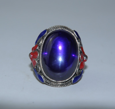 China old cloisonne Miao silver inlay natural purple gem antique ring gift /Aa01