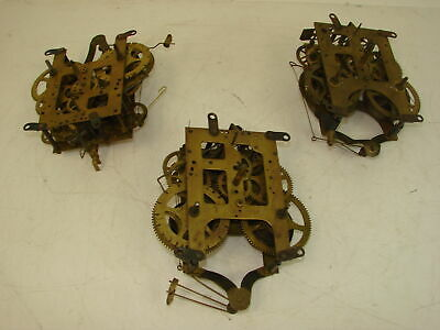Vintage Lot of 3 Gilbert Clock Movements Brass Parts and Repair Replacement