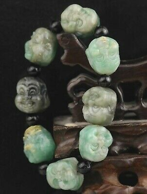 China old natural jadite bangle Chinese jade double buddha beads Bracelet