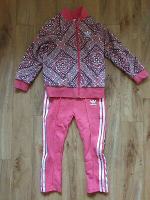 Adidas Girls Pink Tracksuit Top & Bottoms Age 3-4 excellent condition