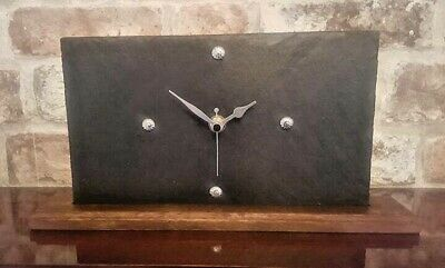 Modern Unique Grey Slate Mantle Clock With Solid  Wood Base Handcrafted