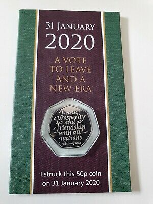 Strike Your Own 2020 Brexit 50p Coin 31st January Dated Packaging SYO, in hand
