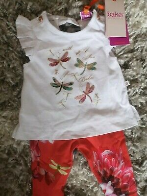 Bnwt Baker By Ted Baker Girls 2 Piece Outfit Age 0-3 Months,